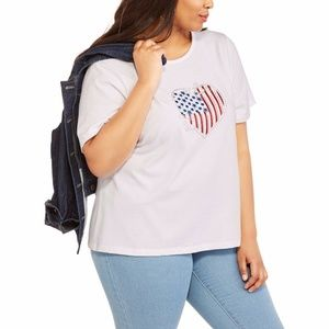 Americana Tee Plus size XL 16/18 BLING USA Heart
